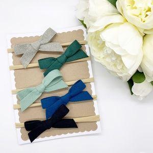 Other - Handmade Infant Velvet Hair Bow Headband Set